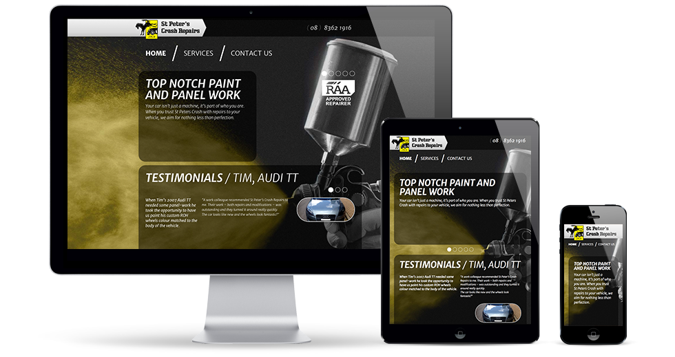 St Peters Crash Repairs Website - Mobile Responsive